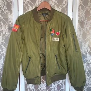 Kendall & Kylie Green Bomber Jacket With Patches